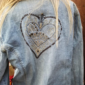 Chico's Platinum Embellished Heart Jean Jacket 2